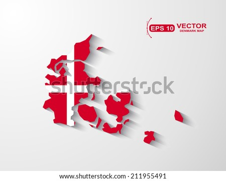 Denmark map with shadow effect - stock vector
