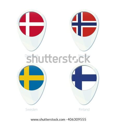 Denmark, Norway, Sweden, Finland flag location map pin icon. Denmark Flag, Norway Flag, Sweden, Flag, Finland Flag. Vector Illustration. - stock vector