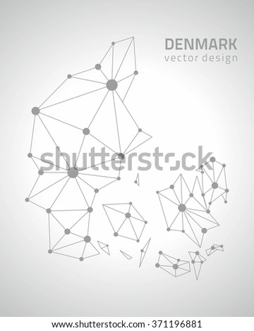 Denmark outline map - stock vector