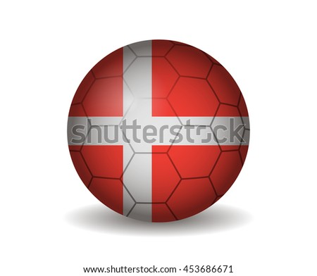 denmark soccer ball - stock vector