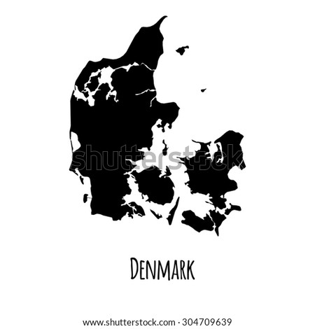 Denmark vector black outline map with caption on white background.  - stock vector