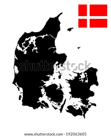 Denmark vector map and flag isolated on white background. High detailed silhouette illustration. - stock vector