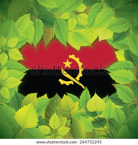 Dense, green leaves over the flag of Angola - stock vector