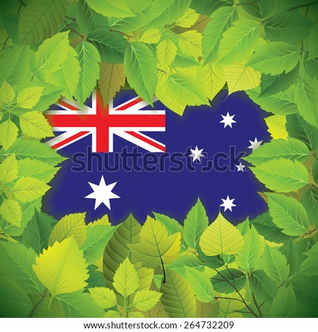 Dense, green leaves over the flag of Australia - stock vector