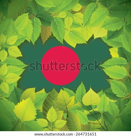 Dense, green leaves over the flag of Bangladesh - stock vector