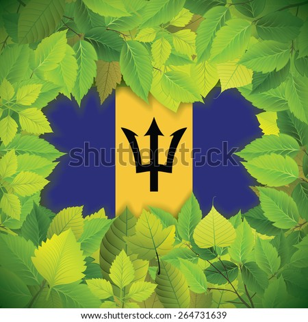 Dense, green leaves over the flag of Barbados - stock vector