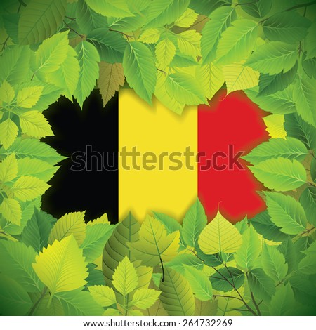 Dense, green leaves over the flag of Belgium - stock vector