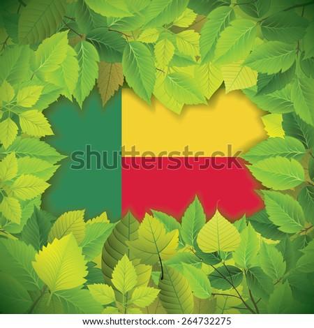Dense, green leaves over the flag of Benin - stock vector