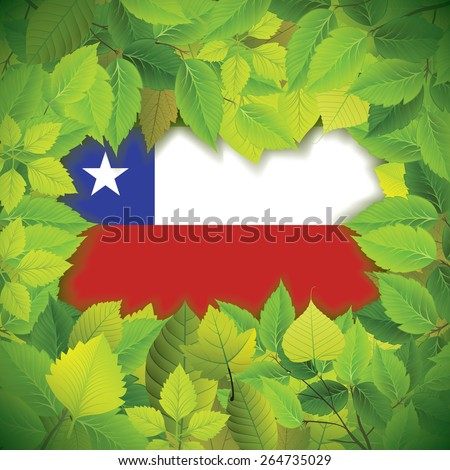 Dense, green leaves over the flag of Chile - stock vector