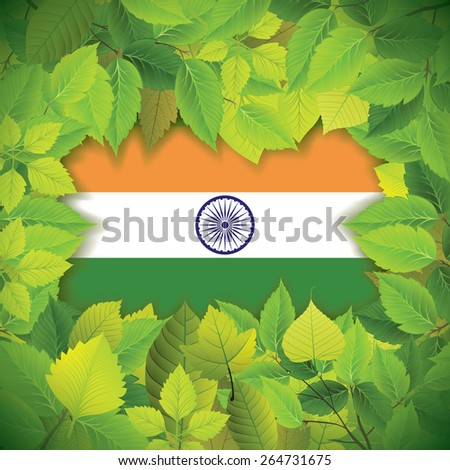 Dense, green leaves over the flag of India - stock vector