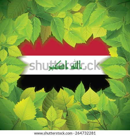 Dense, green leaves over the flag of Iraq - stock vector