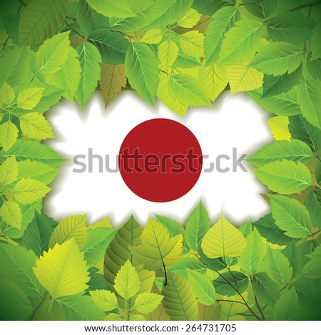 Dense, green leaves over the flag of Japan - stock vector