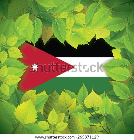 Dense, green leaves over the flag of Jordan - stock vector