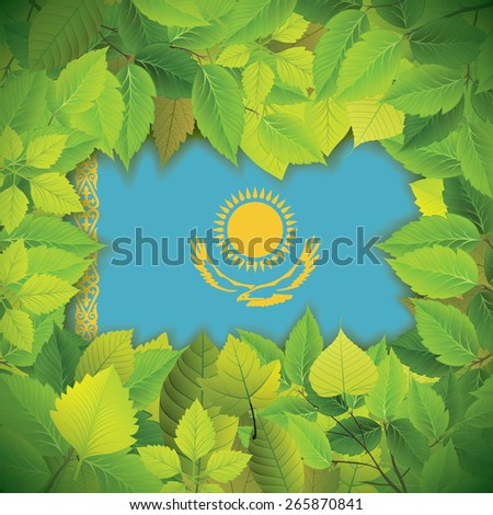 Dense, green leaves over the flag of Kazakhstan - stock vector