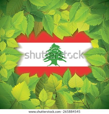 Dense, green leaves over the flag of Lebanon - stock vector