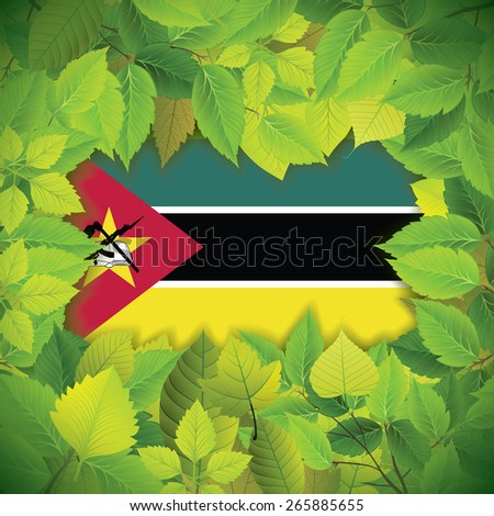 Dense, green leaves over the flag of Mozambique - stock vector