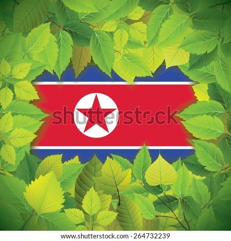 Dense, green leaves over the flag of North Korea - stock vector