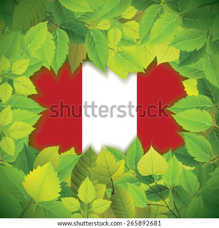 Dense, green leaves over the flag of Peru - stock vector