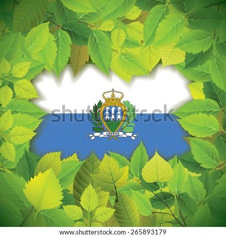 Dense, green leaves over the flag of San Marino - stock vector