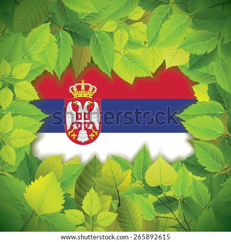 Dense, green leaves over the flag of Serbia - stock vector