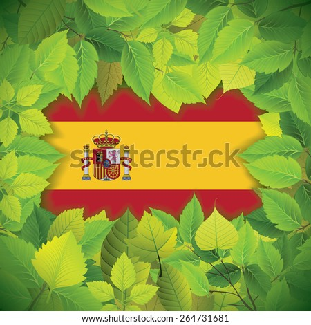 Dense, green leaves over the flag of Spain - stock vector