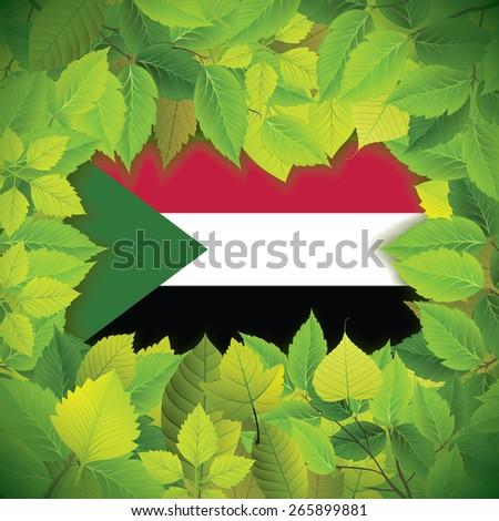 Dense, green leaves over the flag of Sudan - stock vector