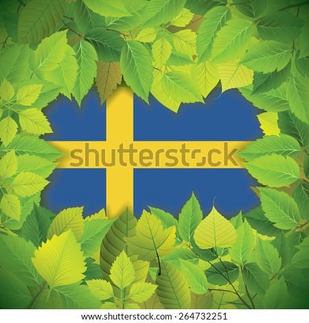 Dense, green leaves over the flag of Sweden - stock vector