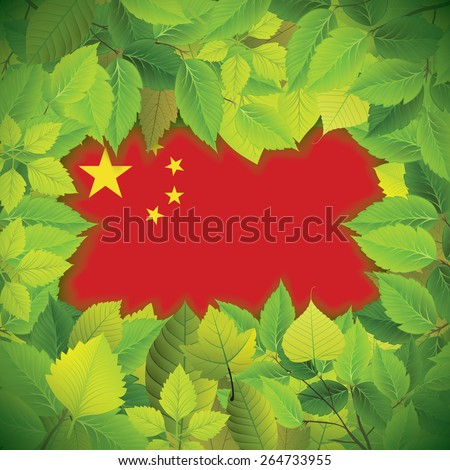 Dense, green leaves over the flag of the People`s Republic of China - stock vector