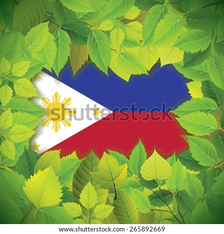 Dense, green leaves over the flag of the Philippines - stock vector