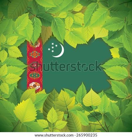 Dense, green leaves over the flag of Turkmenistan - stock vector