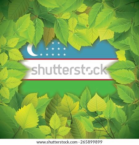 Dense, green leaves over the flag of Uzbekistan - stock vector