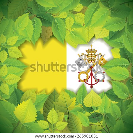 Dense, green leaves over the flag of Vatican City - stock vector