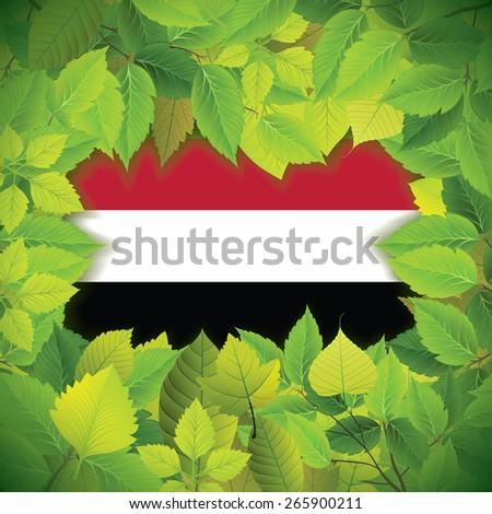 Dense, green leaves over the flag of Yemen - stock vector
