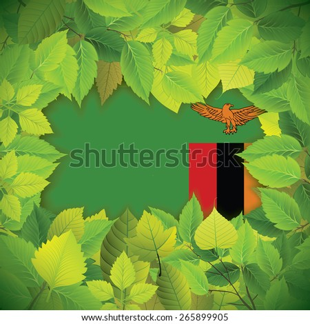 Dense, green leaves over the flag of Zambia - stock vector