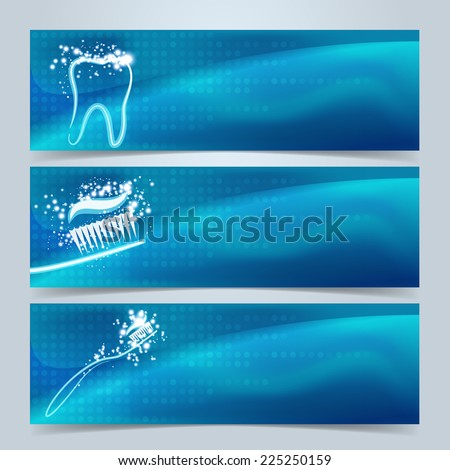Dental banners or website header set. Tooth, toothbrush and toothpaste with star glow effect on blue and green background - stock vector