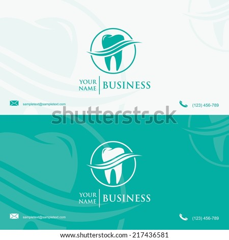 Dental business card template - vector illustration - stock vector