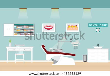 Dental care clinic or dentist office interior with medical dental arm-chair, table and poster, vector illustration. - stock vector
