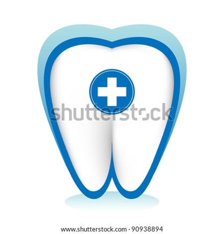 Dental care concept. A white tooth with medical cross in a blue protective shield. - stock vector