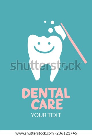 Dental care design concept. Tooth symbol with tooth brush - stock vector