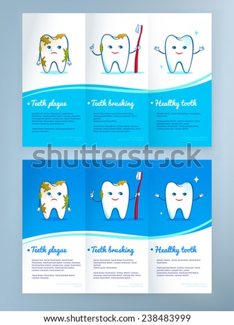Dental care leaflet design with cute tooth characters. Vector illustration. - stock vector
