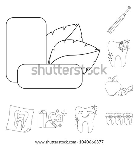 Dental Care Outline Icons Set Collection Stock Vector 1040666377