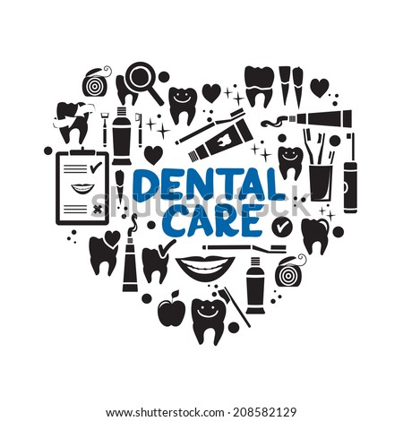 Dental care symbols in the shape of heart. Dental floss, teeth, mouth, tooth paste etc. - stock vector