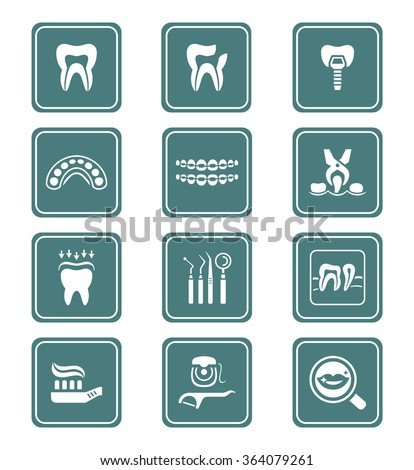 Dental care tools and procedures teal icon-set - stock vector