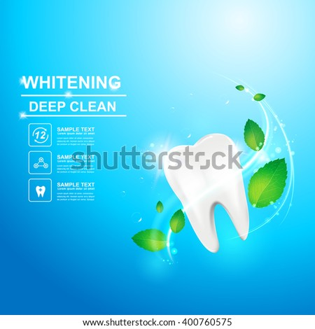 Dental care Tooth and Mint Leaf Icon vector Concept. - stock vector
