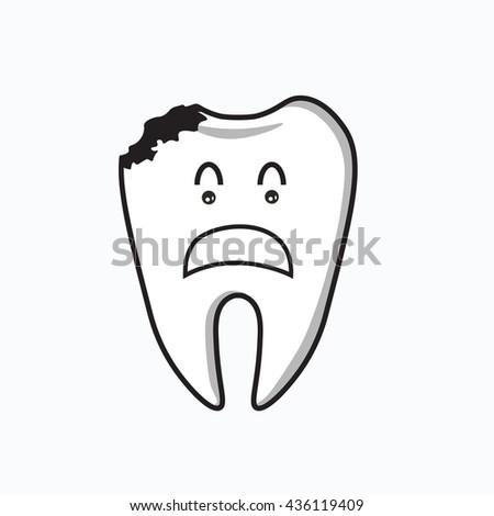 Dental Cartoon ,decayed tooth - stock vector