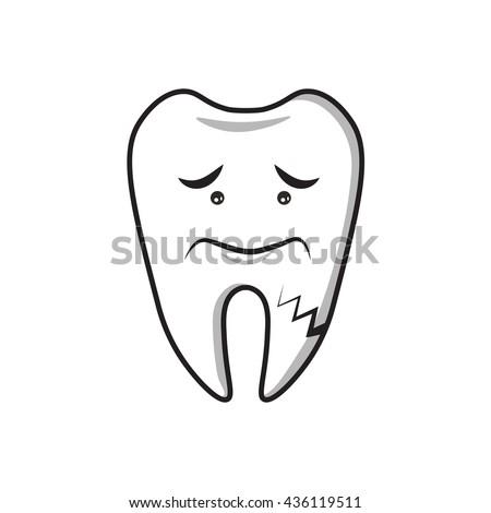 Dental Cartoon ,had toothache 2 - stock vector