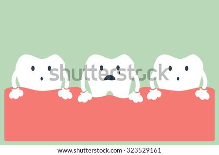 dental cartoon vector, tooth periodontal disease - stock vector