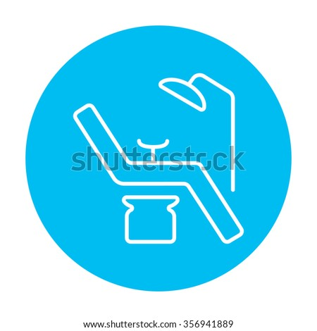 Dental chair line icon for web, mobile and infographics. Vector white icon on the light blue circle isolated on white background. - stock vector