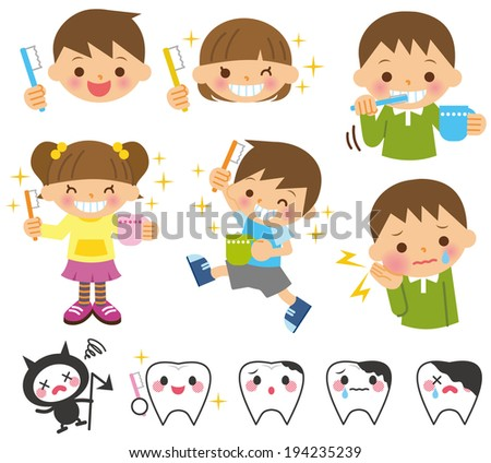Dental children illustration - stock vector