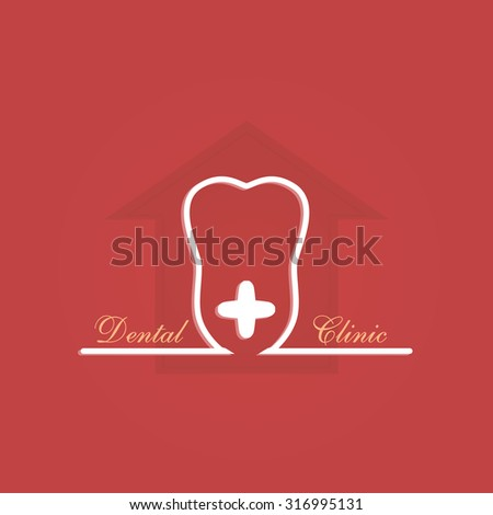 Dental clinic label on red background house of teeth concept logo art - stock vector